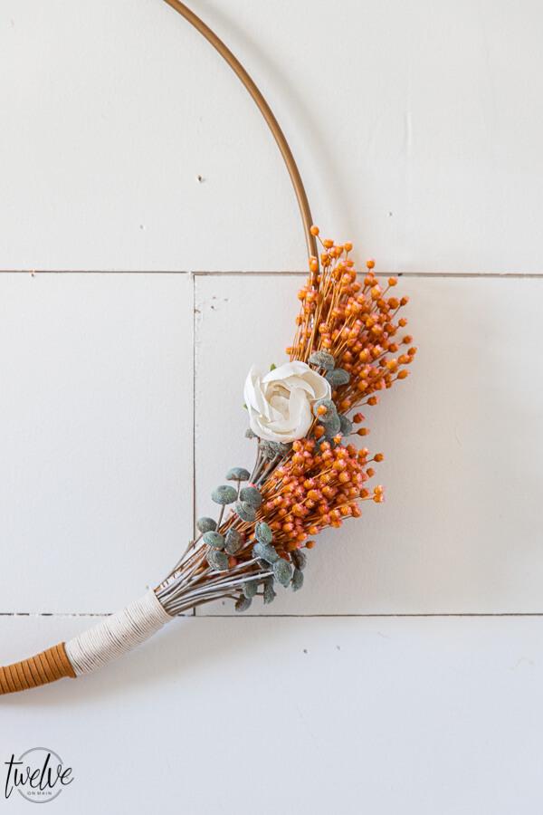 Simple Boho Style Hoop Wreath for Spring
