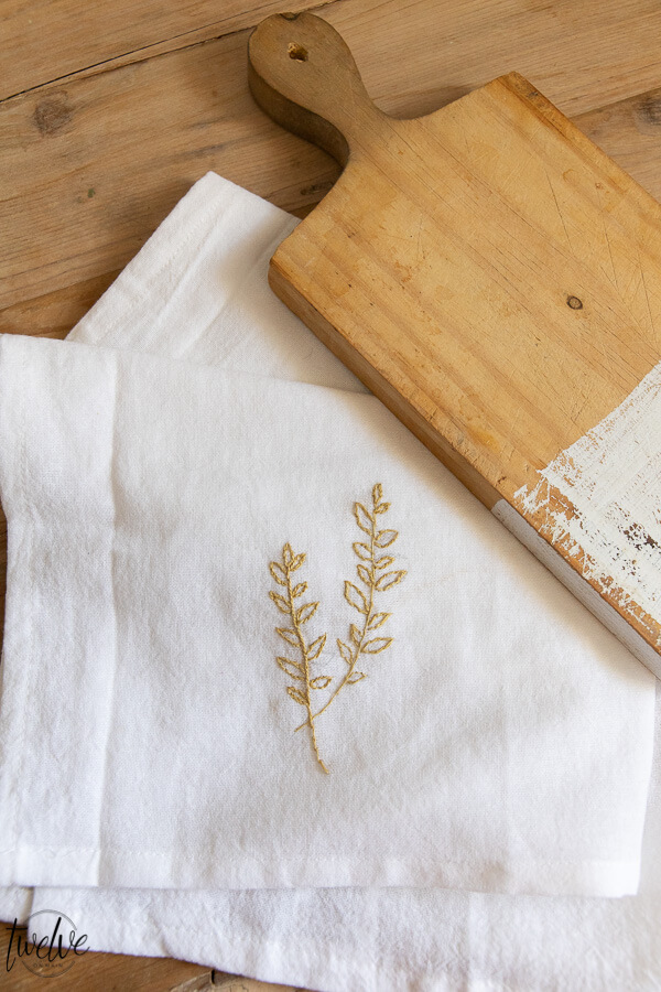 Easy DIY Embroidered Tea Towels