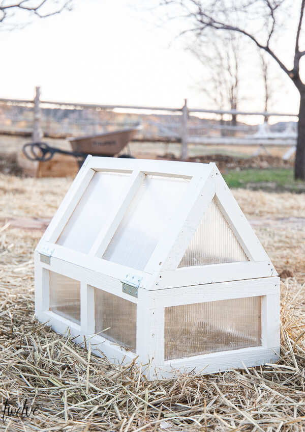 How to make a simple and functional mini greenhouse to use in the garden to protect your plants against frost and add a bit of style too!