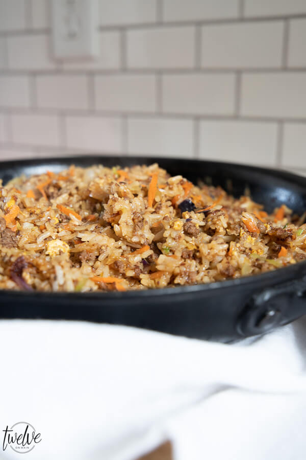 This egg roll in a bowl recipe is so easy to make, tastes amazing and is gluten free and can be Low FODMAP too! Try this one pot meal out.