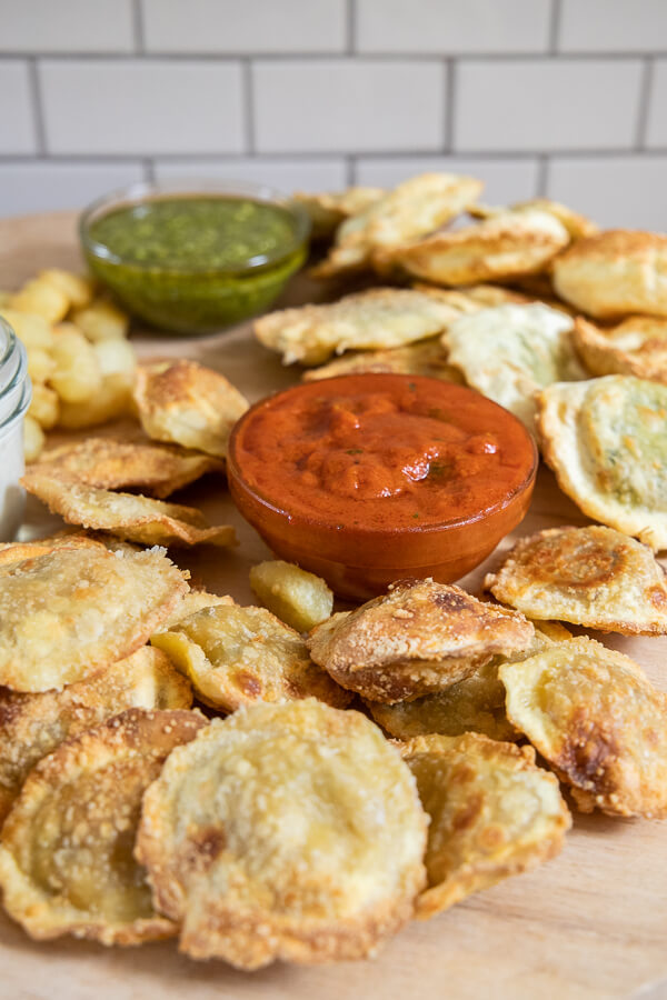 Easy air fryer pasta chips! These are our families favorite and are so easy to make. Turn it into a charcuterie board or use it as an appetizer for all to enjoy!