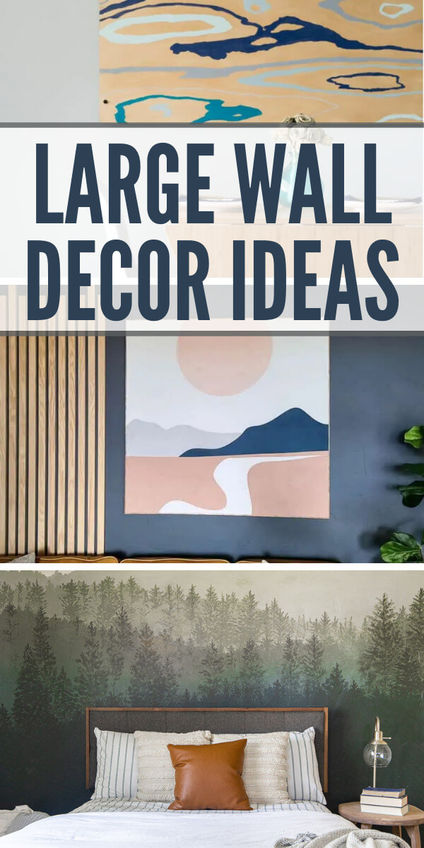Get tons of large wall decor ideas here!  I am sharing my favorite decor ideas for large wall!  There are so many options, let me help!  From gallery walls, to collection of artwork to murals!
