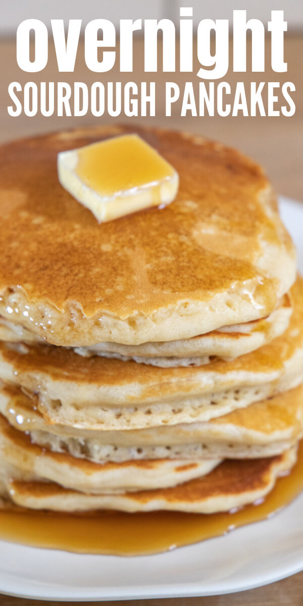 How to make the most amazing overnight sourdough pancakes you'll ever have! They are super easy to make, and have all the sourdough goodness!