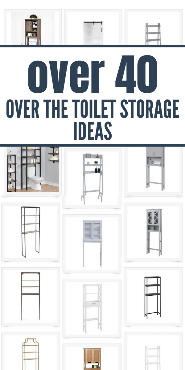 Oodles of over the toilet storage ideas perfect for your small bathroom or just to add more storage to the space.  Actionable tips that will help you choose by giving you real examples and tons of options.