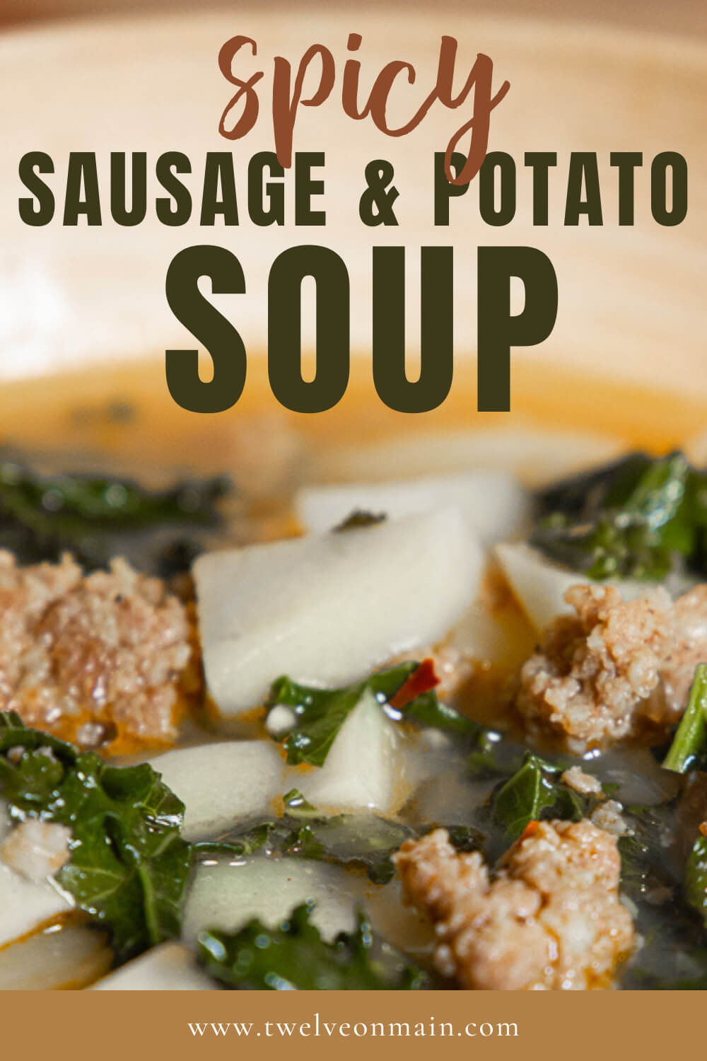 This sausage, kale and potato sup is made even better using spicy sausage!  Try this spicy sausage and potato soup today!  The flavor is out of this world!  It is perfect for a rainy day or a busy weeknight dinner!
