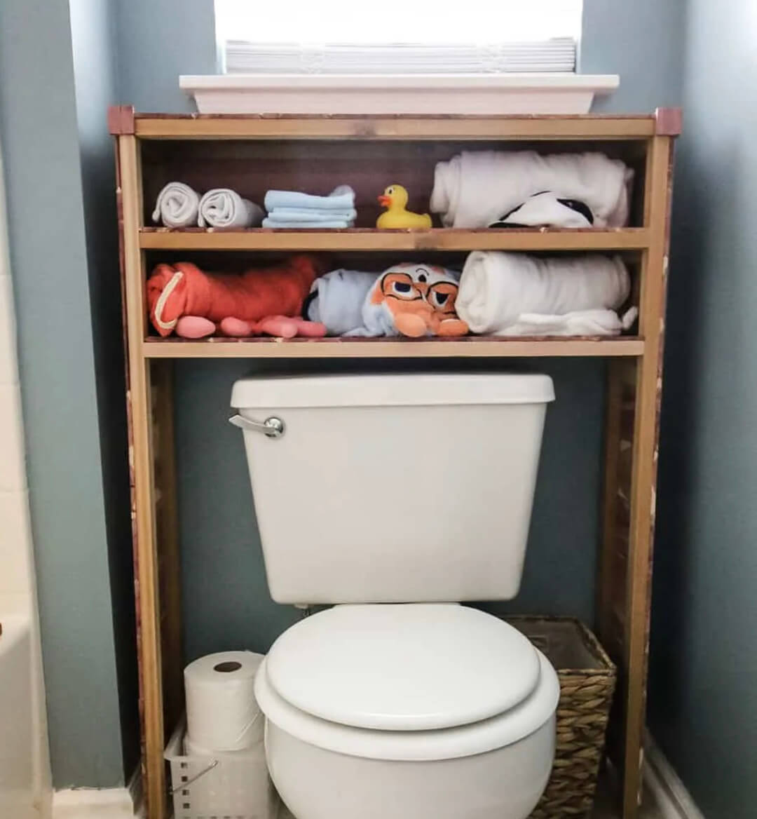 Over 40 amazing over the toilet storage ideas, with actionable tips, inspiration pictures, and products perfect for your space.