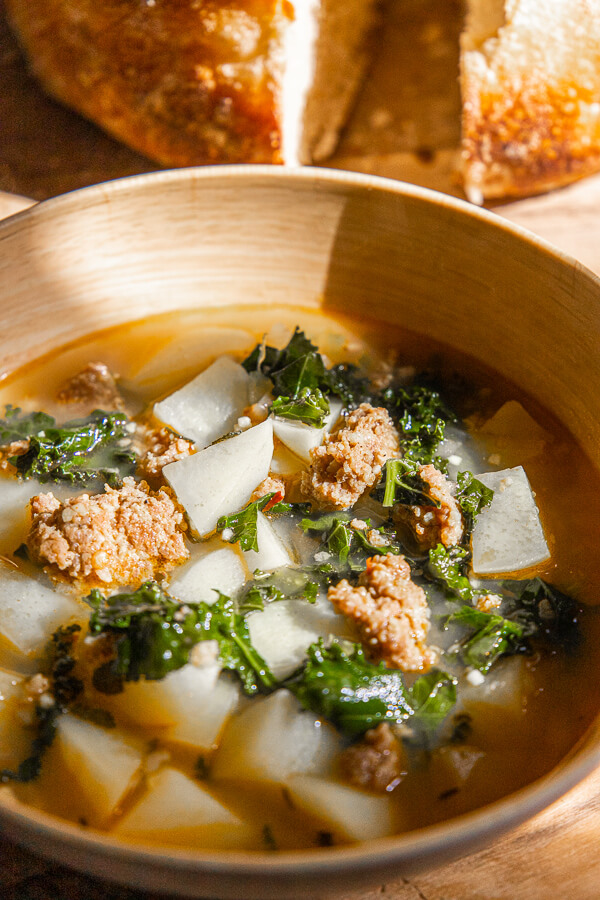 Hearty and Potato, Spicy Sausage and Kale Soup