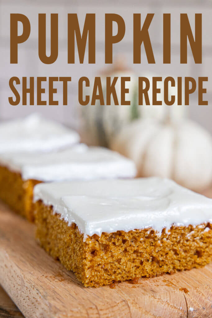 How to make this easy pumpkin sheet cake in under 1 hour! It tastes amazing, it perfect for a big crowd and is the perfect treat for fall.
